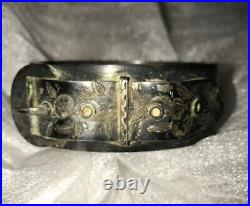 Antique English Victorian Sterling Silver Belt Buckle Bangle Bracelet 1865 West