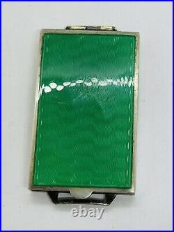 Antique English Victorian Sterling Silver Green Enamel Guilloche Locket Pendant