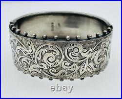 Antique English Victorian Sterling Silver Ornate Bangle Bracelet