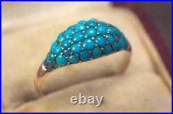 Antique English Victorian Turquoise Bombe Ring 3.28 Ct with 14k White Gold Over