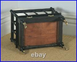Antique English Victorian Walnut Black Ebonised Canterbury Magazine Rack Tidy