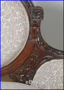 Antique English Victorian Walnut Upholstered Couch Sofa Settee (Circa 1860)