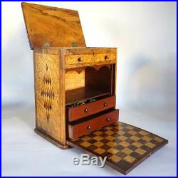 Antique English Walnut & Birdseye Maple Inlaid Table-Top Games Cabinet 19th cent