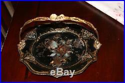 Antique English ca 1850 PAPER MACHE cake basket MOP & Ornate gilt brass handle