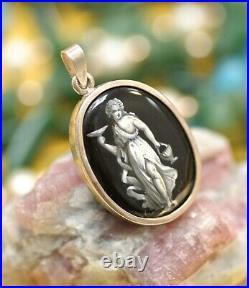 Antique English silver pendant with enamel portrait
