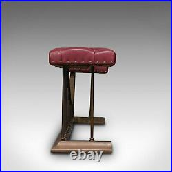 Antique Fender Seat, English, Brass, Leather, Fireside Bench, Victorian, C. 1880