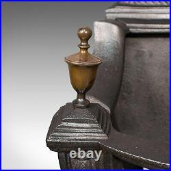 Antique Fire Basket, English, Ornate Cast Iron, Fireplace, Victorian, Circa 1900