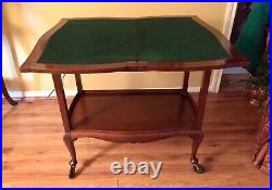 Antique Flip & Swivel Top Game Table with original felt-bought in London