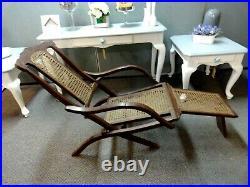 Antique Folding Luxury Wood & Cane Steamer Deck Chair, circa 1890, England