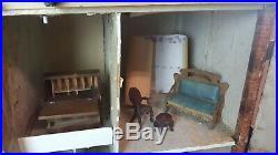 Antique Handmade Huge English Tudor Dollhouse Furniture Accessories Vintage RARE