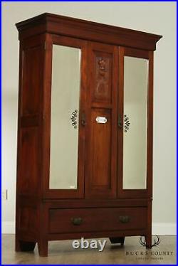 Antique Late 19th Century English Mahogany Mirror Doors Wardrobe Armoire