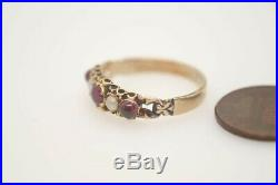 Antique Late Victorian English 15k Gold Garnet & Pearl Ring