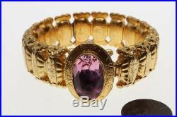 Antique Late Victorian English Gilt & Amethyst Paste Expandable Bracelet