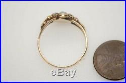 Antique MID Victorian English 15k Gold Pearl Garnet & Emerald Ring