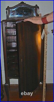 Antique Mahogany Music Cabinet Beveled Mirror Marquetry