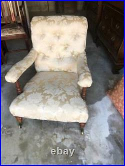 Antique Mahogany Upholstered Victorian Nursing g Arm Chair Made in England