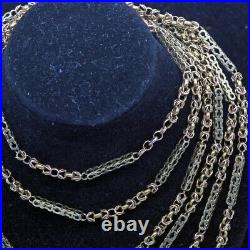 Antique Necklace Long Chain Sautoir 15ct Gold English Victorian Jewelry (6682)