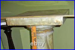 Antique Onyx Marble Pedestal Stand Massive