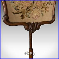 Antique Pole Screen, English, Victorian, Fire, Needlepoint, Tapestry Circa 1850