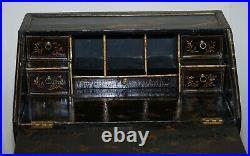 Antique Queen Anne English Japanned Lacquer Writing Bureau Desk Claw & Ball Feet