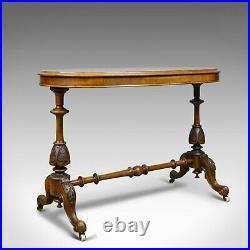 Antique Stretcher Table, Burr Walnut, English, Victorian, Oval, Side, Tea, c1860