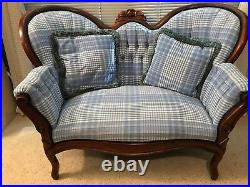 Antique Turn of the Century mahogany blue plaid satin settee. Perfect condition