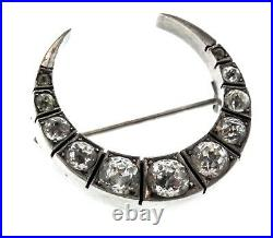 Antique VICTORIAN English Sterling Silver Paste Crescent Moon Figural BROOCH Pin