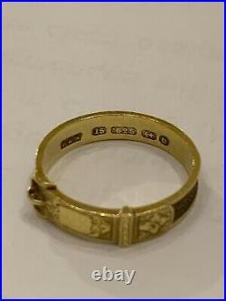 Antique Victorian 15K Gold Buckle Hair Mourning Ring English Hallmarked