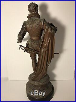 Antique Victorian 21 Cast Spelter with Bronze Finish Sculpture -Court Cavalier
