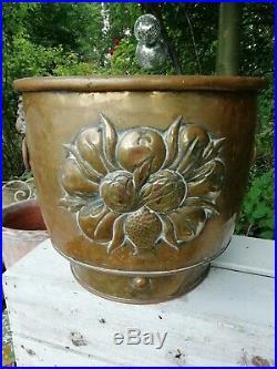 Antique Victorian Brass Aspidistra Pot Planter Jardiniere Log Coal Bucket C1890