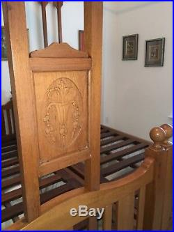 Antique Victorian Colonial Teak Indian Twin Canopy Bed Pair, 3'-4 by 6'-5 each