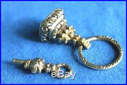 Antique Victorian English 15Ct 14Kt Gold Amethyst Watch Fob Wax Seal Key 21 Gram
