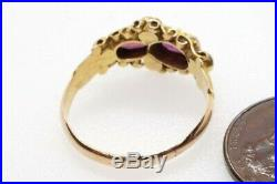 Antique Victorian English 15k Gold Almandine Garnet & Pearl Ring