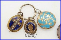 Antique Victorian English 15k Gold Blue Enamel Locket Charm Group & Split Ring