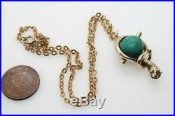 Antique Victorian English 15k Gold Coiled Snake Malachite Orb Pendant & Chain