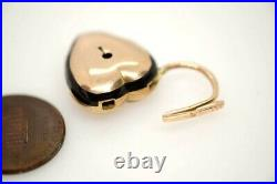 Antique Victorian English 15k Gold Enamel Heart Shaped Padlock Mourning Locket