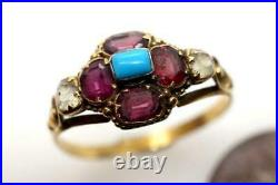 Antique Victorian English 15k Gold Garnet Chrysolite & Turquoise Cluster Ring