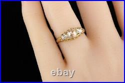 Antique Victorian English 18K Yellow Gold Rose Cut Diamond Engagement Ring