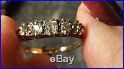 Antique Victorian English 18k Gold 5-stone Diamond Ring 1890