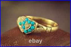 Antique Victorian English 18k Gold Turquoise Pearl Handshake Double Heart Ring
