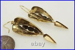 Antique Victorian English 9k Gold Almandine Garnet Wing Shaped Earrings