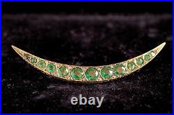 Antique Victorian English 9k Gold Green Garnet Glass Diamond Crescent Brooch