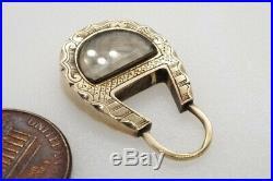 Antique Victorian English 9k Gold Padlock Shaped Hair Locket Mourning Pendant