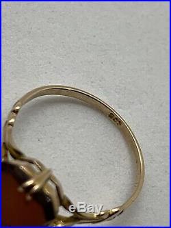 Antique Victorian English 9k Yellow Gold Rectangular Carnelian Seal signet Ring
