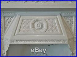 Antique Victorian English Cast Iron Fireplace Surround Mantel Cover Grate Fender