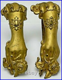 Antique Victorian English Gilt Brass Curtain Tie Backs Figural Female Hand
