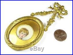 Antique Victorian English Gilt Hand Painted Miniature Portrait Locket Pendant