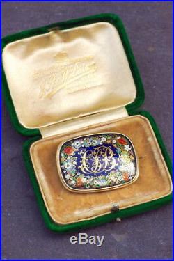 Antique Victorian English Gold Champleve Enamel Locket Brooch Cjb Monogram Boxed
