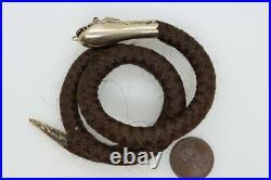 Antique Victorian English Gold Garnet Woven Hair Coiled Snake Mourning Bracelet