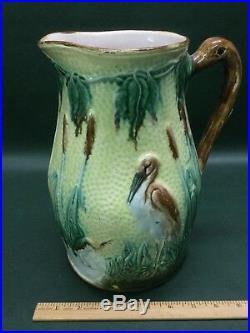 Antique Victorian English Majolica Pitcher Jug Heron in the Bullrush Birds Crane